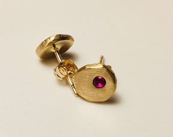 14k solid gold earrings with rubies