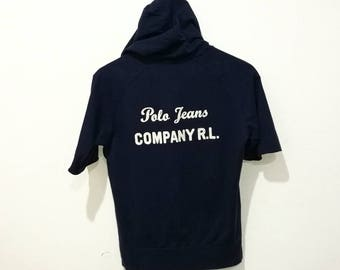 RARE!! Vintage Polo Jeans by Ralph Lauren Spellout Front and Back Embroidery Hoodies Jumper Pullover