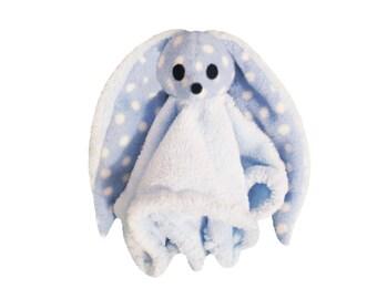 Handmade Blue Bunny soft dot blanket