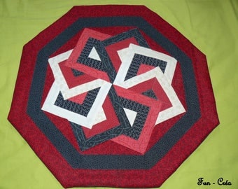 Patchwork red and black centerpiece