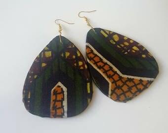African print/ Artdeco style earrings
