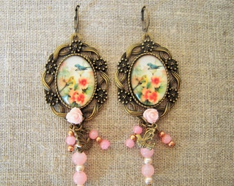 Retro earrings, bird Locket and pink