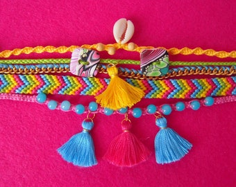 Cuff, friendship bracelet, macrame and beads