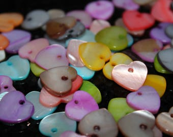 5 x charm shell - heart - colour mix