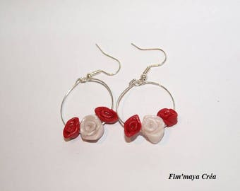 """""""Roses in the Butterfly"""" earrings red and white"""