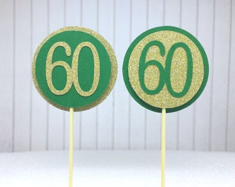 "60th Birthday Cupcake Toppers - Gold Glitter & Emerald Green ""60"" - Set of 12 - Elegant Cake Cupcake Age Topper Picks Party Decorations"