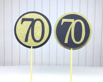 """70th Birthday Cupcake Toppers - Gold Glitter & Black """"70"""" - Set of 12 - Elegant Cake Cupcake Age Topper Picks Party Decorations"""