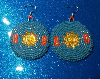 Native beaded earrings-Turquoise blue