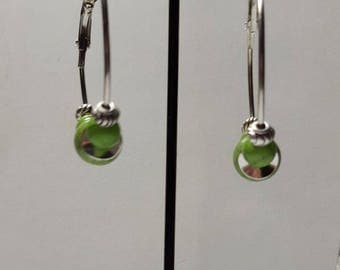 Large hoop green beaded beads