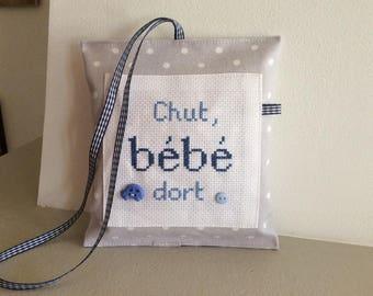 """Door cushion """"Shhh baby sleeping"""" boy version"""