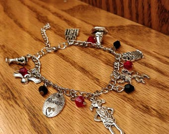 Harry Potter inspired adjustable charm bracelet.