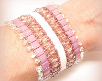 "Cuff Bracelet woven tila beads, ""Rose Lilas!"""
