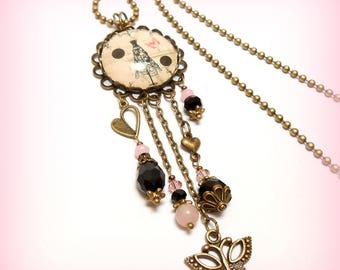 "Glass Cabochon necklace ""couture, the small polka dot dress"""