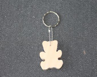 Wooden bear keychain