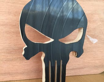 Skull / Punisher in wood and recycled vinyl record