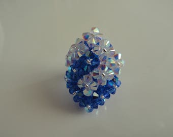 Two square Swarovski Crystal beads intertwined ring hand made blue and white