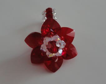 Ring handmade Lily siam red Swarovski Crystal beads