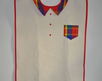 "Adult bib ""in the Islands"" - white - red madras shirt collar"