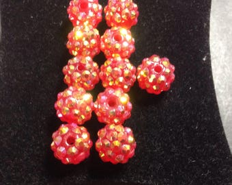 Plastic 10 mm red Shamballa bead