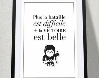Poster quote + superhero - A4 size: 21 x 29.7 cm