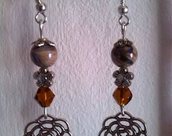 Filigree Silver Flower Earrings