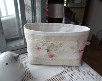 Tidy antique metis (linen cotton) with ecru fabric with pink band