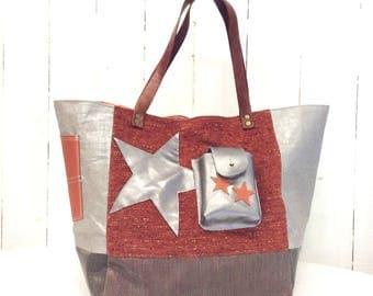 Leather tote bag canvas orange mottled, silver lame linen, bronze