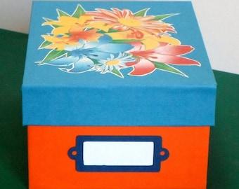Printed paper and cardboard storage box * decorative * handmade