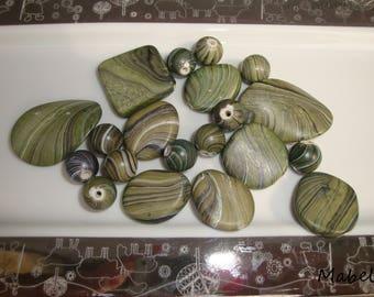 Set of 20 beads, round, oval, Khaki, synthetic