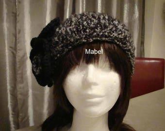 Heather black knit headband, knit and crochet, warm, soft flower