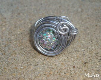Silver ring, multicolor, adjustable rhinestone Pearl, silver plated aluminum wire