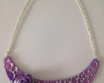 Purple fimo flower bib necklace
