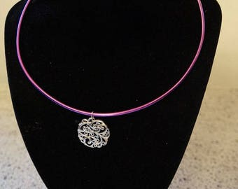 fuchsia silver necklace