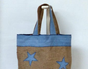 real burlap and denim tote bag