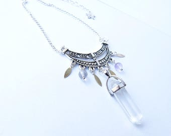 "Bib prints ""Goddess"" Crystal love heart silver feather protection guide Fluorite pendulum"