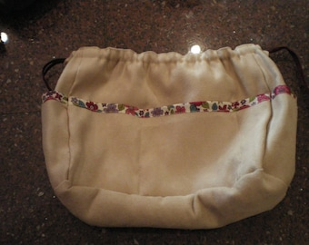 beige suede fabric bag Organizer