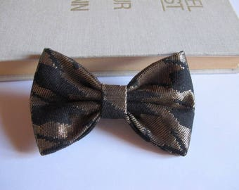 Bow tie, 2 in 1 foot of houndstooth black and gold fabric hair clip