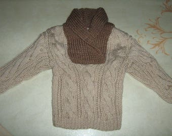 New hand knit sweater beige and Brown Baby Irish spirit