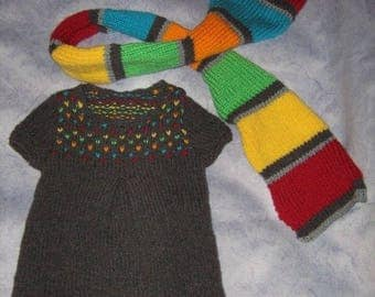 Dress and scarf matching t 2 years hand knitted