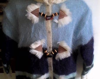 Hand knitted jacket in mohair with fur 8 years.