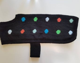 Polka dot for hand knitted medium dog coat