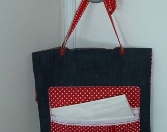 Dimoulibar jeans, lined red and white polka dots