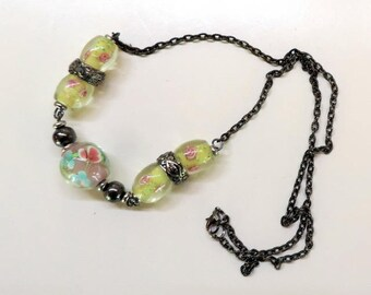 Bohemian necklace with Lampwork Glass Beads