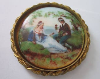 Antique Miniature Victorian Hand Painting on Porcelain with Fancy Bronze Frame