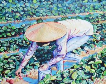 Berry Picker Original Watercolor Painting