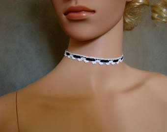 Choker necklace lace crochet white with Navy blue satin ribbon