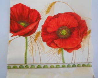 1 towel poppies and wheat on a cream background