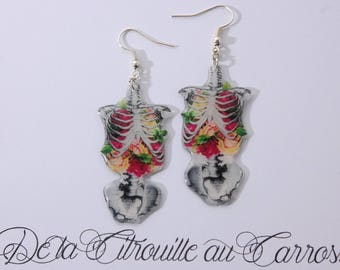 Rib Cage earrings, floral pattern, white iridescent