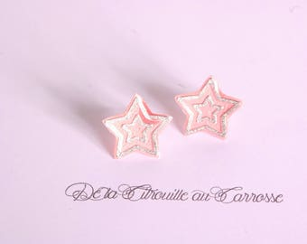 Coral and Silver Star studs/posts