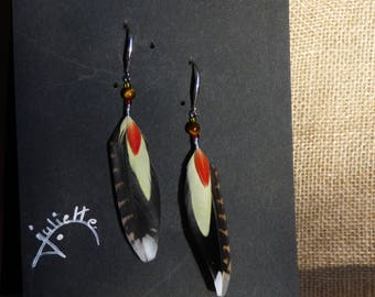 """finding feathers with silver hook and bead """"Tiger eye"""""""